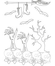 Halloween Coloring Book. Vector Illustration.