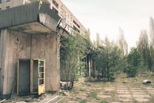 Abandoned Building In Pripyat. Broken Call-box Or Telephone Box