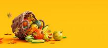 Pumpkins And Autumn Vegetables Falling From Wooden Rattan Basket On Orange Background 3D Rendering, 3D Illustration