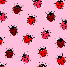 Red Ladybugs On A Pink Background. Repeating Texture. Trendy Hand Drawn Red Ladybugs Seamless Vector Pattern For Stationery, Cards, Wallpapers, Web And Wrapping Paper. Cute And Amazing Ladybugs.