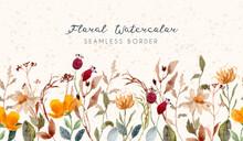 Vintage Floral Watercolor Seamless Border