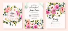 Wedding Invitation Set With Pink Flower Garden Watercolor