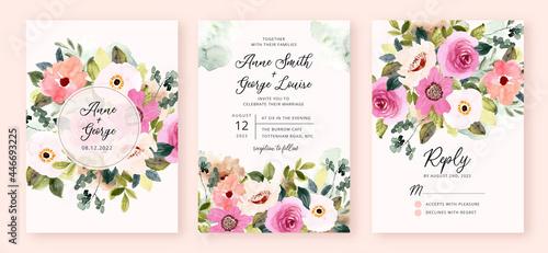 Canvastavla wedding invitation set with pink flower garden watercolor
