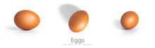 Eggs Are Isolated On A White Background. Brown Eggs.