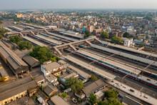 Aerial View Of Samastipur Railway Station Yard In Samastipur, Bihar, India.