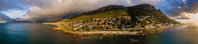 Panoramic Aerial View Of St. James Tidal Pool At Sunset Near Kalk Bay, Cape Town, South Africa.