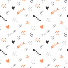 Seamless Pattern In Scandinavian Style. Cute Pattern With Fish Skeleton, Abstract Elements. Orange, Grey, Black And White Palette. Background In Minimalism.Ideal For Printing Baby Textiles, Fabrics
