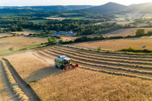 Aerial View Of A Wheat Field Harvest In Rows By A White And Green Tractor During A July Summer Sunset, With A Small Farm In The Background, Puy De Dome, Auvergne, France.