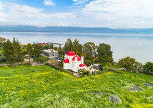 Aerial View Of Greek Orthodox Monastery On The Shore Of The Sea Of Galilee, Israel.