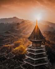 Aerial View Of Tower In Dong Village At Sunrise In Guizhou, China.