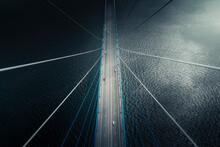 Aerial View Of Vehicle Driving On Russkiy Bridge Crossing The Bay In Vladivostok, Russia.