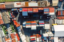 Lisbon, Portugal - 25 May 2021: Aerial View Of Carnide Industrial Area With Stocking Container In A Factory, Carnide, Lisbon, Portugal.