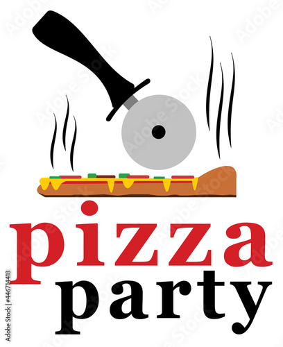 Pizza party with slice of pizza and cutter #446714418