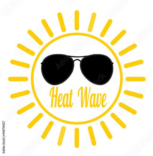 Heat wave sun with sunglasses #446714427