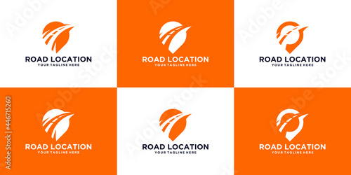 Foto Expedition road and location symbol logo design template