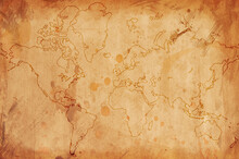 Old Vintage Paper World Map With Texture Background With Outline