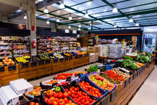 Eco Products Store Counter With Large Assortment Of Fresh Vegetables And Oter Goods For Sale