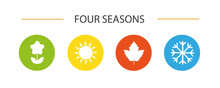 Four Seasons Winter Spring Summer Fall Icon Set Vector
