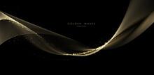 Golden Wave Background, Luxury Gold Lines