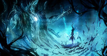 A Female Sorceress Levitates In A Glowing Cave Opposite A Huge Multi-armed Alien Lord, His Body Consists Of Light And Roots, Fireflies Fly Around And Blue Shimmering Waterfalls Flow. 2d Illustration