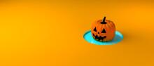 Halloween Pumpkin Inside A Hole. Banner. Background. 3d Illustration.