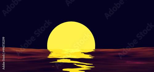 Fotografie, Obraz Sunset orange sun reflection on water surface on background night sky