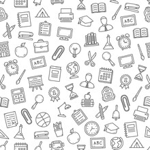 Seamless Pattern With School Icons