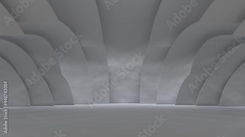 Fotografie, Tablou Futuristic architecture background curved walls in design interior 3d render