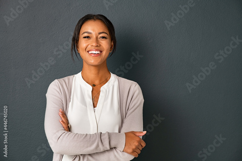 Fototapeta Portrait of smiling mixed race woman looking at camera