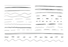 Vector Handdrawn Underline Strokes Set On White Background, Scribble Black Drawings, Collection Of Different Lines.