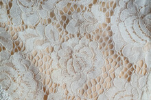Background Macro Texture Of Factory Fabric With Lace Pattern