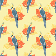 Seamless Pattern With Parrots And Leaves. Cockatiel On Yellow Background. Vector Design For Paper, Cover, Fabric, Gift Wrap, Interior.
