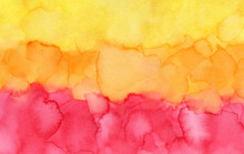 Beautiful Decorative Abstract Background With Canary Yellow, Tangerine Orange And Bright Red Colors. Hand Drawn Watercolour Illustration With Gorgeous Brushstrokes For Creative Design Decoration.