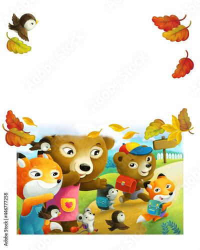 Fototapeta premium cartoon forest animals parents sending kids to school