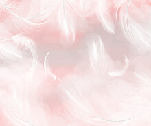 Watercolor With Feathers. The Background For The Wall Is Watercolor Feathers.Delicate Background, Photo Wallpapers For The Room.
