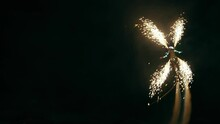 The Flyboarder Gave Night Fireworks Over The Sea.