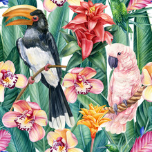 Birds Toucan, Cockatoo And Flowers, Watercolor Illustration, Seamless Pattern, Tropical Background,