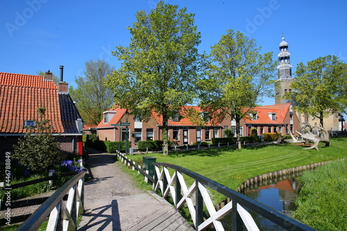 Canvas Print The historical town of Hindeloopen, Friesland, Netherlands, with historical hous