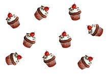 Watercolor Cupcake Illustration With Cherries On A White Background
