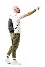 Stylish Geek With Pants Tucked In Socks Reaching Hand Buying Or Taking Copy Space. Side View. Full Length Portrait Isolated On White Background