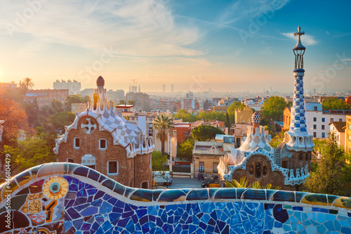 Barcelona city view from Guell Park Fotobehang