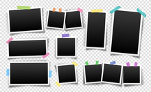 Photo Frames Fixed With Sticky Tape. Vector Templates Set For Editing. Illustration Of Realistic Empty Photo With Shadows Isolated On Transparent Background.