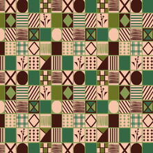 Original Endpaper For Bookbinding, Seamless Background With Abstract Geometric Pattern, Squares And Lines, Symmetry, Brown-green Tones. Back Cover, Gift Wrapping Paper