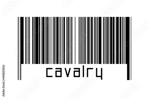Fototapeta Barcode on white background with inscription cavalry below