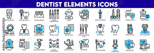 Fotografie, Obraz Set Of Dentist Elements Icons.