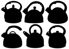 Tea Kettles Included. Vector Image.
