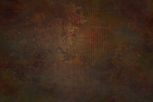 Abstract Background With Metal Dark Rusty Bronze Metallic Backdrop. Panel Texture With Corroded Oxidized Rusty Aged Metal. Luxury Warm Color, Autumn Mineral Ground Design 3D Concept.