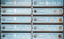 Old Blue Mailboxes Background Wallpaper Texture