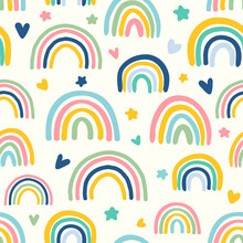Colorful Rainbows With Stars And Hearts Seamless Repeat Pattern. Irregular, Vector Weather Phenomenon Wallpaper All Over Surface Print On Beige White Background.