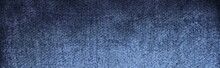 Nice Panorama Blue And White Abstract Background. Black  Fabric Texture Background